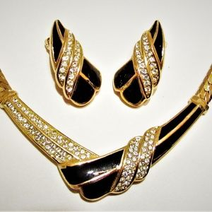 Vintage Dior Black Enamel Pave Necklace Earrings
